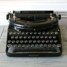 Typewriter. Black Remington Noiseless Portable Typewriter. Industrial. Antique Typewriter.