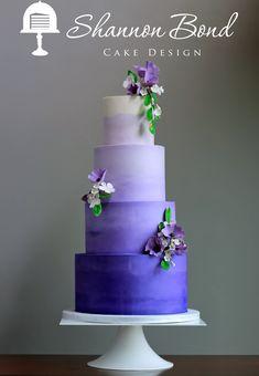 Purple Ombre Buttercream Wedding Cake by Shannon Bond Cake Design www.sbcakedesign.com