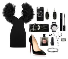 """""""Black party girl"""" by mehrak ❤ liked on Polyvore featuring Yves Saint Laurent, Christian Louboutin, Kendra Scott, Chanel, Gucci, OPI, Finesque and Bernard Delettrez"""