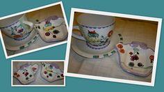 Juego desayuno - Pintura sobre porcelana