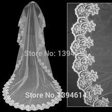 Caliente venta 3 m del borde del cordón catedral boda velos blancos / de marfil largos velos de novia por por la alta calidad Tulle accesorios de la boda TS099(China (Mainland))