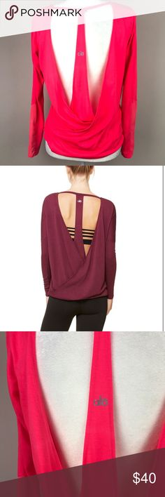 """Alo Yoga Cinder Long Sleeve Open Back Mesh Alo yoga cinder long sleeve. Open back detailing. Coral color. Mesh in the sleeves too. Super cute for yoga or just working out! Size small. V neck. In EUC, no stains or holes. Bust 19.5"""" Length 24"""". ::217 ALO Yoga Tops Tees - Long Sleeve"""