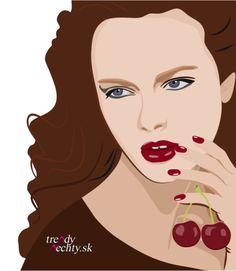 vector, red nails, women, cherries