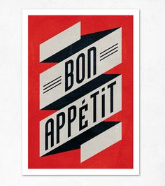 Bon appetit red black Large illustration print - would look cute in the kitchen