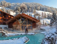 Go for a soak in the local hot baths after a long day out! Lucerne, Places In Switzerland, Thermal Pool, Winter Cabin, Winter Snow, Belle Villa, Holiday Accommodation, Swiss Alps, Winter Travel