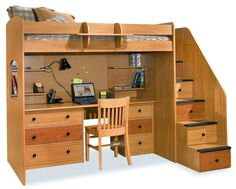 Office bunk bed combo with desk below and bed above.