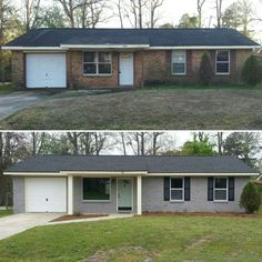 Brick ranch exterior makeover, painted brick, HGTV Sherwin-Williams Hammered Zinc, gray house with cream trim and black shutters, blue/green door, wide columns, no shutters on picture window #exteriorpaintcolorsforhouse