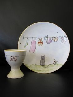 Plate and Egg cup hand painted bone china washing by TheChinaHutch, $33.50: