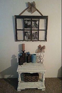 SCRAPPED WINDOW PANE+BURLAP RIBBON=CUTE PICTURE FRAME