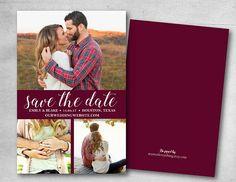 Save the date DIY or printed burgundy maroon custom