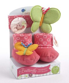 Look what I found on #zulily! Pink Butterfly Headband & Booties Set by Baby Aspen #zulilyfinds