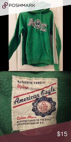 Green American Eagle Varsity Hoodie Green American Eagle varsity hooded  sweatshirt. Condition is very lightly 796d3f3392b