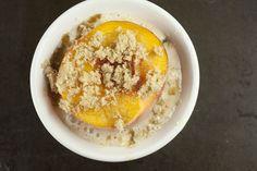 Baked peaches + oatmeal