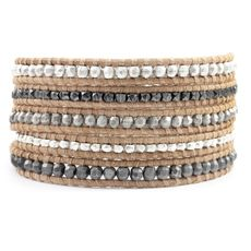 Silver Bead and Nugget Mix Wrap Bracelet on Beige Leather