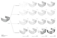 Parametric Facade  Program: Grasshopper/ Rhino 5  Shown is the different configurations of a facade I am designing for my current project. The first three rows go into the different parameters of the definition and how these components add up to the finial product. There are three components to this definition; X amount of circles, radius of circles, depth of circles.    The final row shows how these components work together with a point attractor to create a dynamic Facade system.