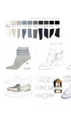 Fashion Sketchbook - footwear design drawings, colours & fabrics; fashion portfolio // Rose Agnew