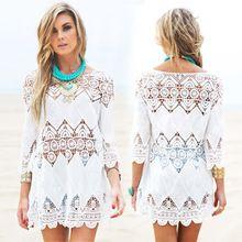 New women lace beach dress splice casual white mini dresses sexy...