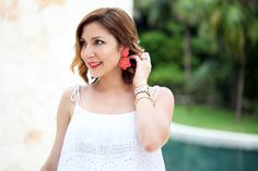Blame it on Mei Miami Fashion Blogger 2016 Summer Look Vacation Outfit Tiered Embroidered Long White Linen Dress Pom Pom Straw Clutch Tassel Aquqzzura Wild One Wedges Secrets Maroma Riviera Maya Cancun Tropical Vacation in Mexico Hermes Clic Clac H bracelet