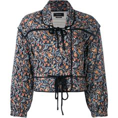 Isabel Marant quilted tie-up jacket (€590) ❤ liked on Polyvore featuring outerwear, jackets, floral-print bomber jackets, multi colored jacket, blue quilted jacket, isabel marant jacket and colorful jackets