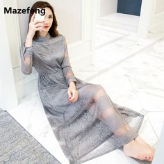 Cheap maxi dress, Buy Quality floral maxi dress directly from China lace dress Suppliers: Mazefeng Women dress 2017 summer ladies hollow out lace dress solid grey See-through dress long sleeve A-line floral maxi dress