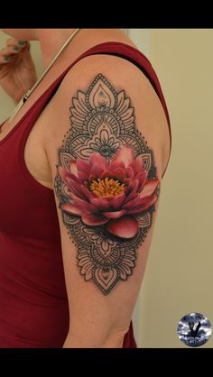 My tattoo #mandala #lotus #lotusflower #pink #tattoo #detail