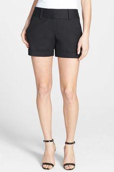 Flat Front Cuff Stretch Cotton Shorts