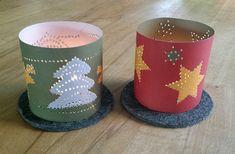 Weihnachts-Windlichter zum Prickeln - schöne Deko zu Weihnachten - Bastelbogen mit zwei Windlichtern
