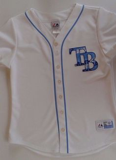 TAMPA BAY RAYS Evan Longoria Majestic  Blue Jersey # 3 Sz Med #Majestic #TampaBayRays