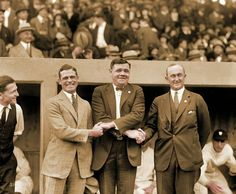 Three of the greatest hitters in baseball history: George Sisler, Babe Ruth and Ty Cobb meet before the 1924 World Series.