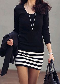 Round Neck Stripe Design Long Sleeve Dress