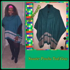 🆕 Sweater Poncho Teal/Gray Cowl Neck Sweater Poncho is your must have for a warm and cozy season. 69% Polyester/30% Acrylic, 1% Spandex. JW Sweaters Shrugs & Ponchos