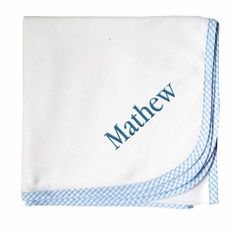 PersonalizeMyBabyBlanket.com - 3 Marthas Blue Gingham Cotton Flannel Receiving Baby Blanket - Personalized Embroidery, $26.99 (http://personalizemybabyblanket.com/3-marthas-blue-gingham-cotton-flannel-receiving-baby-blanket-personalized-embroidery/)