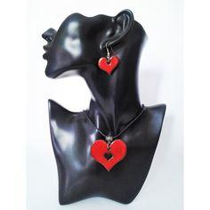 set náhrdelník s náušnicami červené srdiečka Brooch, Superhero, Fictional Characters, Vintage, Jewelry, Art, Jewels, Art Background, Jewlery