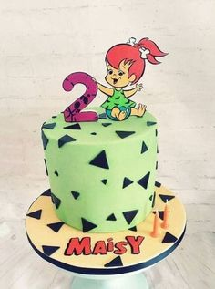 1st Birthday Party For Girls, Second Birthday Ideas, Baby Birthday, Birthday Party Themes, Pebbles Flintstone, Twins 1st Birthdays, Character Cakes, Bambam, Food