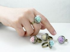 Mint ring Mint green jewelry Flower ring Mint by TriccotraShop