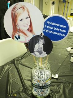 Graduation centerpieces using mason jars