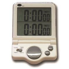 Dual 24 hour countdown and 20 hour count up kitchen timer with memory function. The timer also benefits from a 12/24 hour clock. Complete with folding base to allow timer to stand and bracket for wall mounting. Batteries included.
