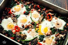 Baked Eggs with Pancetta And Mushrooms
