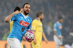 Gonzalo Higuain of Napoli celebrates his team's second goal during the Serie A match between SSC Napoli and Frosinone Calcio at Stadio San Paolo on May 14, 2016 in Naples, Italy.
