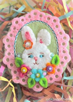 Felt Bunny Pin with Embroidery - Petunia Cottontail