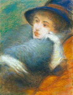 """Woman with Boa"", Drawing by Jozsef Rippl Ronai (1861-1927, Hungary)"