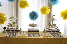 Hanging blue and yellow puffs could be cute, mayb behind the cake table? Or use these to create a backdrop for a photobooth, cute! Event Decor, Event Ideas, Party Ideas, Christening Decorations, Blue Desserts, Baby Shower Yellow, Dessert Table, Cake Table, Blue Party