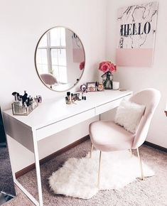 Super simple, cheap home improvement ideas and projects - Zimmer deko ideen - Beauty Room Pink Bedroom Decor, Bedroom Ideas, Bedroom Small, Diy Bedroom, White Desk Bedroom, Nice Bedrooms, Girls Bedroom, Small Bathroom, Mirror Bedroom