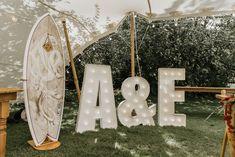 Surf Board Guest Book Letter Lights Summer Boho Wedding Wild Tide Weddings #LetterLights #Wedding #SurfBoard #GuestBook
