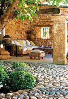 Reciclar, Reutilizar y Reducir : Encantadoras terrazas Rustic Gardens, Outdoor Gardens, Backyard Patio, Backyard Landscaping, Backyard Shade, Outdoor Rooms, Outdoor Living, Outdoor Decor, Garden Design