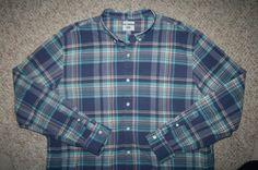 Old Navy XXL blue white pink MensChoice pocket cotton dress shirt striped 2XL 2X #OldNavy