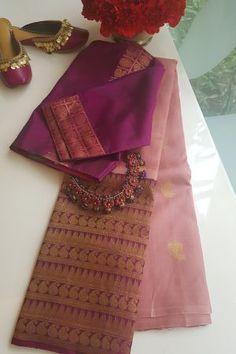 Blouse Designs High Neck, Cotton Saree Blouse Designs, Saree Blouse Patterns, Trendy Sarees, Stylish Sarees, Fancy Sarees, Saree Models, Elegant Saree, Kanchi Organza Sarees