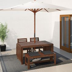 ÄPPLARÖ Table, 2 armchairs and bench, outdoor brown stained. The hole in the middle of the table top keeps your umbrella in place. The drop-leaves can be folded and removed, so you can quickly adjust the table size according to your needs. Outdoor Armchair, Outdoor Dining Furniture, Outdoor Chairs, Patio Dining, Ikea Outdoor Table, Rattan Furniture, Dining Tables, Wood Supply, Table Extensible