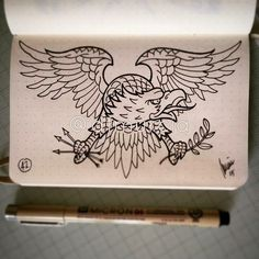 42 out of 365 Old School Eagle tattoo drawing made yesterday. - 42 out of 365 Old School Eagle tattoo drawing made yesterday. Eagle Chest Tattoo, Eagle Tattoos, Wolf Tattoos, Trendy Tattoos, New Tattoos, Tattoos For Guys, Star Tattoos, Belly Tattoos, Traditional Eagle Tattoo