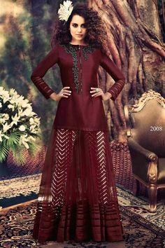 Kangana Ranaut Jacket Style Anarkali Salwar kameez - $123